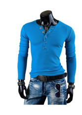 New Winter Men's Big V Collar Ring Button Decorative Slim Long Sleeved T-shirt Lake Blue (Intl)