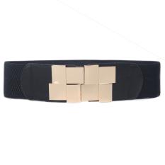 New Women Elastic Faux Leather Buckle Waist Wide Belt Stretch Waistband Cinch - Intl