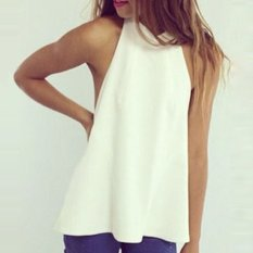 New Women Fashion Sleeveless Off Shoulder Sexy Backless Chiffon Casual Top Blouse Shirt-white-M (EXPORT)