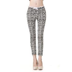 New Women Korean Version Of Micro-stretch Cotton Plaid Pencil Pants Plus Size S-5XL - intl