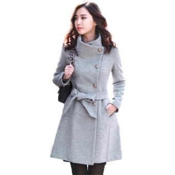 New Women's Worsted Coat Long Sleeve Tweed Winter Coat