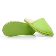 New Women Men Anti-Slip Flat Shoes Soft Winter Warm Cotton House Indoor Slippers Green (Intl)