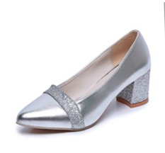 New Women'S Shoes Puleather Round Head Mix Color High-Heeled Shoes - intl