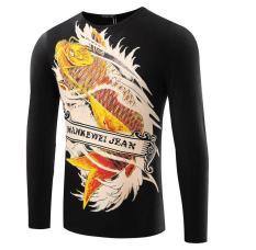 Newcarp Printing Mens Long Sleeve T-shirt 3D Hollow Clothes Black (Intl)