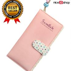 NiceEshop Exquisite Designed Lady Card Holder PU Leather Zipper Phone Purse Wallet Bag, Pink