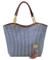 NiceEshop Fashion Stripe Single Shoulder Canvas Bag Women Handbag (Blue White)
