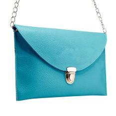NiceEshop Fashion Women Leather Handbag Shoulder Chain Bags Envelope Clutch Crossbody Satchel Purse, Deep Blue