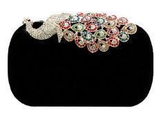 niceEshop perempuan berlian imitasi Merak beludru malam partai clutch tas, Hitam