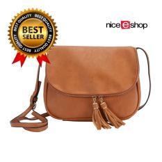 niceEshop perempuan PU kulit Crossbody Bag Rumbai Shoulder Bags, Coklat