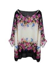 NiceEshop Womens Bohemian Batwing Sleeve Chiffon Shirt