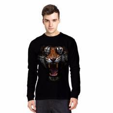 NSclothing Kaos 3D Harimau 7 Lengan Panjang Hitam