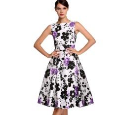 O-neck Sleeveless Elegant Hebborn Vintage Floral Wear To Party Banquet Flared Dresses Princess ra-ra Dresses-white & purple - intl