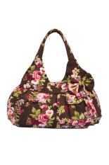 OEM Coffee Floral Women Vintage Bowknot Canvas Soft Casual Handbag