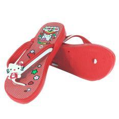 Ofashion Sandal Jepit Wanita RE-ART-XJ-222 Yumeida Hello Kitty - Merah - Size 36