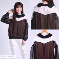 Omah Fesyen Roseeta Lace Casual Blouse - Black Size: L