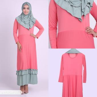 Omah Fesyen Verziva Two Tone Flare Muslim Set - Salmon