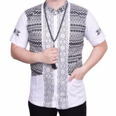 Ormano Baju Koko Muslim Batik Lebaran Lengan Pendek ZO17 KK12 Kemeja Fashion Pria - Putih