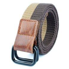 Outdoor Men&Women Double Buckle Casual Belt Canvas Waist Belt (Coffee)