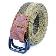 Outdoor Men&Women Double Buckle Casual Belt Canvas Waist Belt (Green)