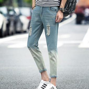 Outlet Gradient color cowboy slim feet casual pants Blue - intl