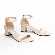 Own Works Open Toe Ankle Strap Block Mid Heel Sandals - Cream