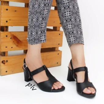Own Works Open Toe T-Strap Block Mid Heel Sandals KN01 - Hitam