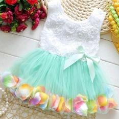 PAlight Gadis Kecil Gaun Renda Bunga Kupu-Kupu(Hijau)