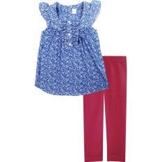 Papeterie Setelan Baju Anak Perempuan ST 212 Corak Bunga Ungu Celana Leging - Merah