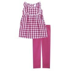 Papeterie - Setelan Pakaian Anak Perempuan ST 239 Motif Kotak Renda - Fuchia