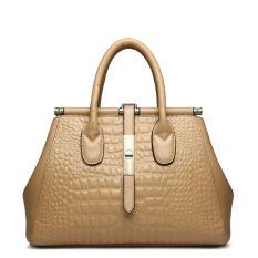 PASTE Brand Designer Women Handbag Luxury Tote Bag Alligator Grain Shoulder Bags Genuine Leather Handbags Fashion Crossbody Bags For Women High Quality (Apricot)