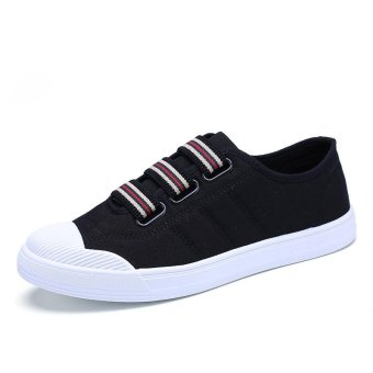 Pattrily canvas shoes shell head sleeves sports casual board shoes men(black) - intl