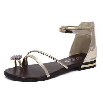 Pattrily casual casual ladies flat sandals in summer(gold) - intl