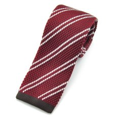 "PenSee Casual Mens Burgundy & Brown & White Stripe Slim 2.16"" Skinny Knit Tie"