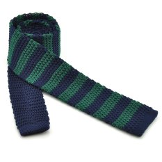 "PenSee Casual Mens Navy Blue & Dark Green Slim 2.16"" Skinny Knit Tie"