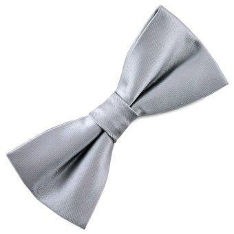 Pensee Mens Silk Bow Tie Silver Grey Solid Pre-tied Bow Ties
