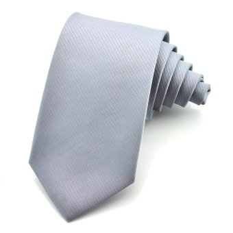 PenSee Mens Tie 100% Polyester Silk Solid Stripe Multiful Color Formal Necktie (Silver Grey)