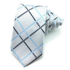 PenSee Mens Tie Leisure Silk Plaid & Checks Geometric Fashion Neckties -Various Colors (Black & Light Blue)