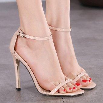Perempuan Buka Kaki PU Sandal Heel Tinggi Maupun Aprikot