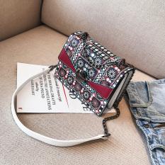 Persegi kecil angin nasional perempuan baru dicetak Shishang tas wanita tas (Merah)