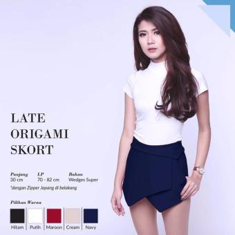 Pinky Store Late Origami Skort - Skort Mini - Rok Celana [Navy]