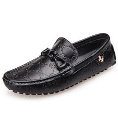 PINSV Leather Men Flats Shoes Casual Loafers Shoes Slip-On (Black)