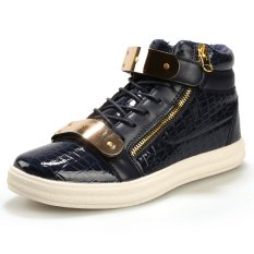 PINSV Men Fashion Sneakers Casual High Cut Shoes(Navy) (Intl)