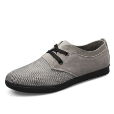 PINSV Men Leather Breathable Casual Business Shoes (Grey)