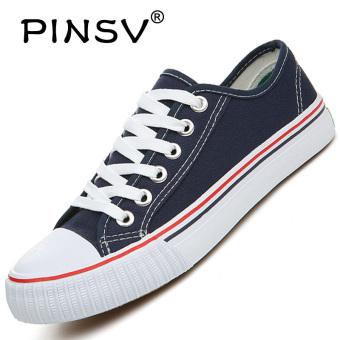 PINSV Men's Canvas Casual Shoes 35-46 (Navy)