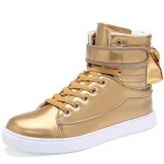 PINSV Men's Fashion Sneakers With High Cut (Gold) (Intl)
