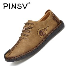 PINSV Nubuck Leather Shoes Men round toe leather lace fashion shoes Low Cut Shoes - Khaki - intl