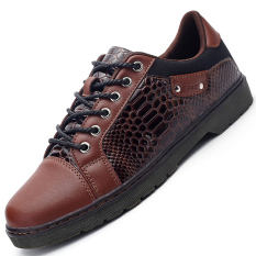 PINSV Synthethic Leather Men's Snake Print Casual Business Leather Shoes (Brown) - Intl