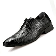 PINSV Synthethic Leather Men Formal Shoes Casual Leather Shoes (Black) - INTL