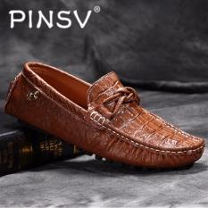 PINSV The Man Her Kulit Serta Asli Her Kasual Loafers Flat (Coklat)