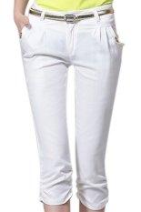 Plain Casual Cotton Spandex Regular Womens Pants White